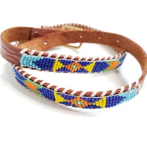 Vtg Colorful Beaded Brown Leather Skinny Belt